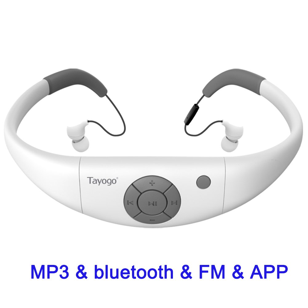 Tayogo Waterproof Mp3 Player 8GB Swimming Bluetooth Headset Underwater 10feet with FM APP Flash Drive for Swimming Running Riding Walking SPA and other Water Sport with Shuffle Feature-White by Tayogo