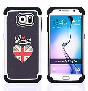 - love London heart grey flag union uk/ H??brido 3in1 Deluxe Impreso duro Soft Alto Impacto caja de la armadura Defender - SHIMIN CAO - For Samsung Galaxy S6 G9200