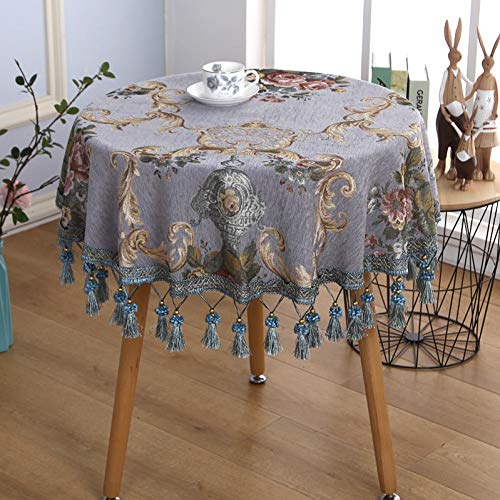 MZFZB Tablecloth Rose European Round Table Cloth Chenille Table Cover Towel Tablecloth with Tassel Thickened Tablecloths