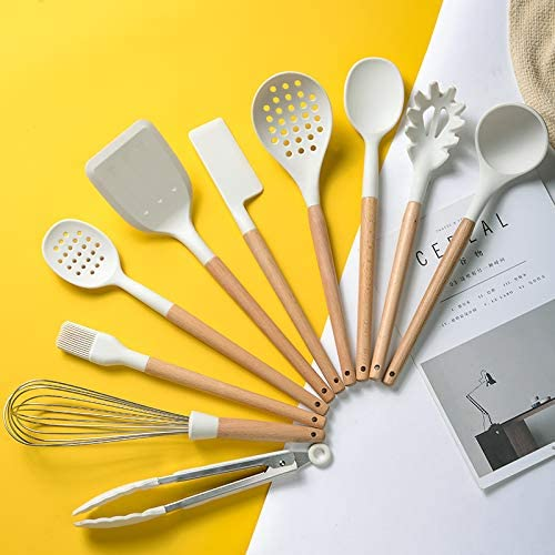 BolerGifts Cooking Utensils with Wood Handle Professional Silicone Kitchen Tools Set with Holder for Nonstick Cookware