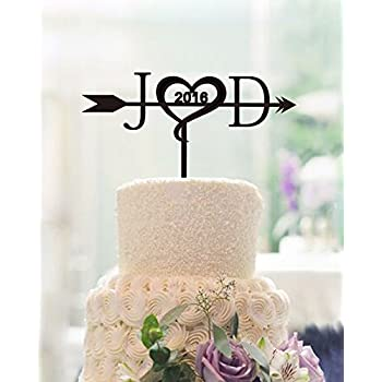 Unique Wedding Cake Toppers Letter Personalized Initials With Arrow Custom Years Topper For