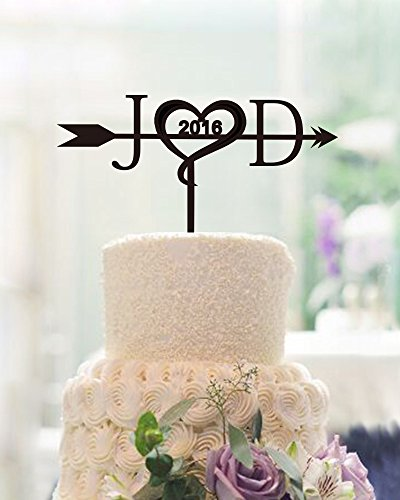 Unique Wedding Cake Toppers Letter Personalized Initials with Arrow Custom Years Wedding Topper for Cake