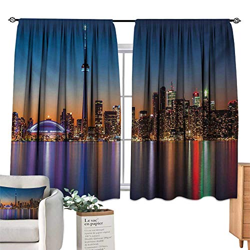 Ediyuneth Sheer Curtains Landscape,Urban Theme A Cityscape View of Toronto and The Skyscrapers at Dusk Digital Print,Dark Blue 72