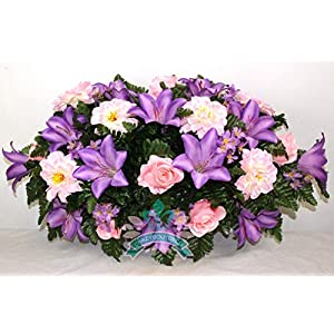 Beautiful XL Spring Pink Lilies Cemetery Saddle Flower Arrangement ... 31