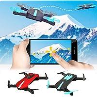 Coerni Premium Phone Control HD Camera Selfie Foldable WIFI FPV RC Quadcopter Pocket Drone - 4 Channels, Gravity Sensor, Trajectory Flight (Red)