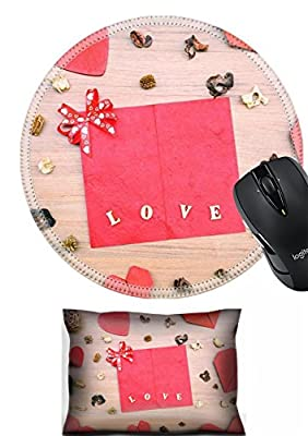 MSD Mouse Wrist Rest and Round Mousepad Set, 2pc Wrist Support design 36064525 Red heart shape paper on wooden table with copy space vintage style