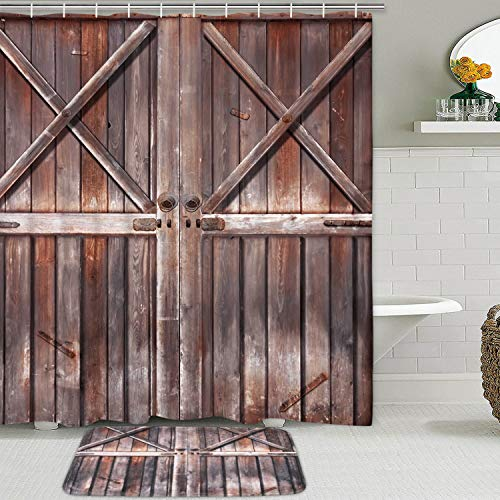 Rustic Shower Curtain Set with Non-Slip Bathroom Mats, Farmhouse Wooden Wood Shower Curtain Country Village Barn Door Shower Curtain Shower Curtains with 12 Hooks, Durable Waterproof Bath Curtain (Sets Bathroom Country)