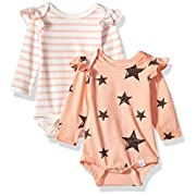 Rosie Pope Baby Girls 2 Pack Bodysuits, Peach Stars/Stripes, 0-3 Months