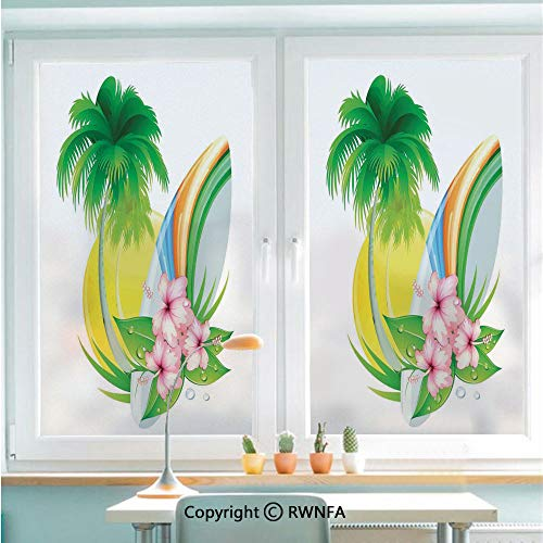 Window Door Sticker Glass Film,Illustration of Funky Summer Insignia with Palms and Surfboard Tidal Bore Print Anti UV Heat Control Privacy Kitchen Curtains for Glass,22.8 x 35.4 inch,Green Yellow Pi