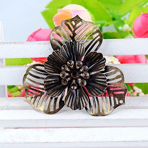 20Pcs Antique Bronze Filigree Flower Embellishment Connectors Metal Crafts Decoration DIY Findings 4.7cm