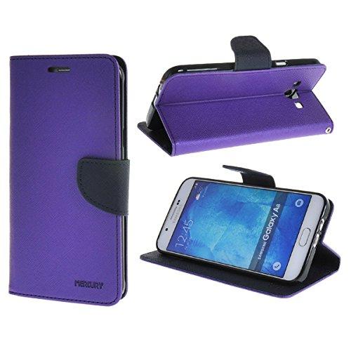 Galaxy A8 Funda,COOLKE Dos Colores Funda Carcasa Cuero Tapa Case Cover Para Samsung Galaxy A8 - púrpura púrpura