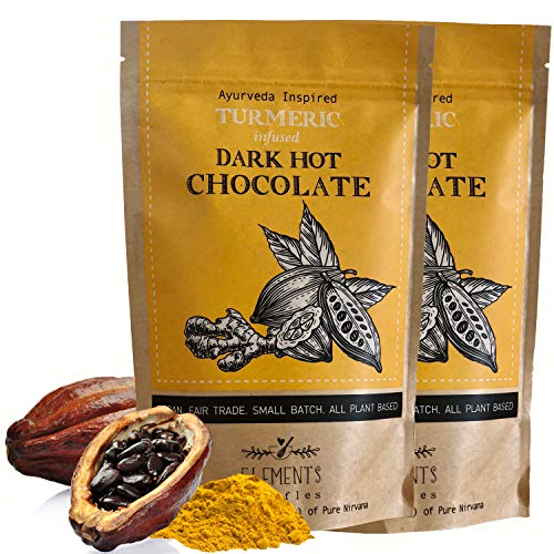 Elements Truffles Turmeric Infused Dark Hot Chocolate - All-Natural, Handmade, Small-Batch Dark Hot Chocolate Mix - Uses Ecuadorian, Fair Trade, Organic Cacao Powder - Vegan Hot Cocoa Mix - 16 Ounces