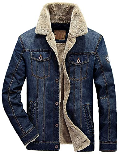 (Omoone Men's Button Up Vintage Sherpa Fleece Lined Denim Biker Jacket Jean Coat (Dark Blue Fleece, S))
