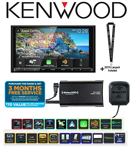 "Kenwood Excelon DDX9906XR 6.8"" DVD Receiver with SiriusXM Satellite Radio Tuner SXV300V1 and Antenna Bundle with Sound of Tri-State Lanyard"