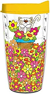 product image for Smile Drinkware USA-CAT WITH FLOWER POT 16oz Tritan Insulated Tumbler With Lid and Straw