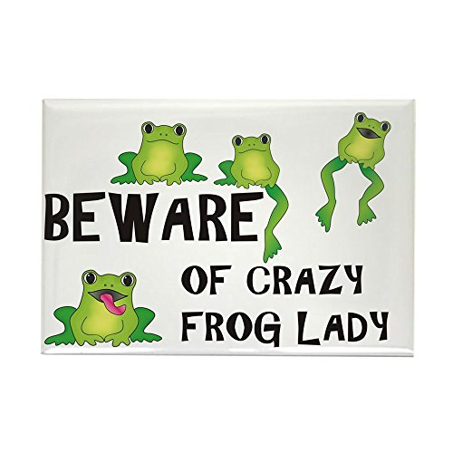 (CafePress Beware Of Crazy Frog Lady Rectangle Magnet, 2