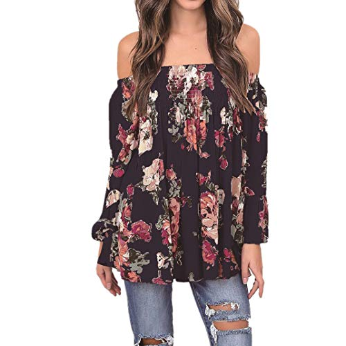 ManxiVoo Women Floral Print Tops Off Shoulder Flare Sleeve Shirt Blouse T-Shirt for Ladies (M, Navy)
