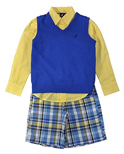 Nautica Little Boys Blue Sweater Vest 3pc Short Set (5/6)