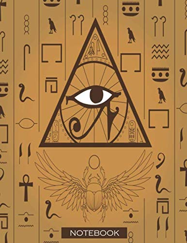 Notebook: Large lined notebook with page number and date, ideal for organization, daily planner, journal, taking notes, diary / Egypt, culture, old, ... eye, egyptology, scarab, beetle, symbols ()