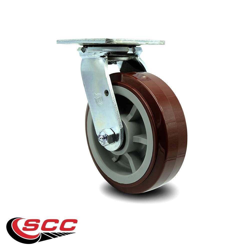 Service Caster - 6'' Heavy Duty Polyurethane Wheel Swivel Caster - Non Marking - 750 lbs/Caster