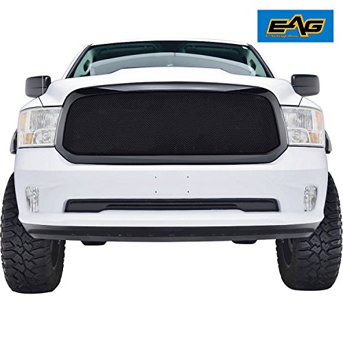 E-Autogrilles Black Stainless Steel Wire Mesh Front Upper Grille Grill Insert With ABS Shell for 13-18 Dodge Ram 1500