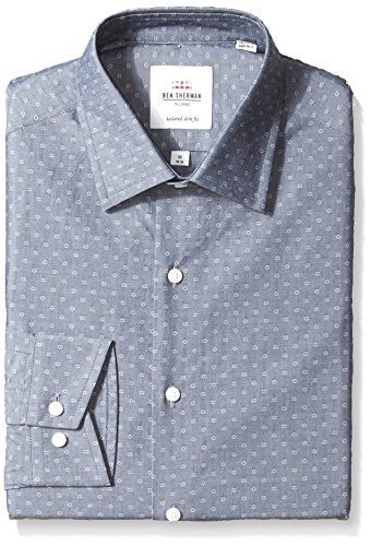 Ben Sherman Men's Grey Fineline Dobby Slim Fit Dress Shirt, Gray, 15.5