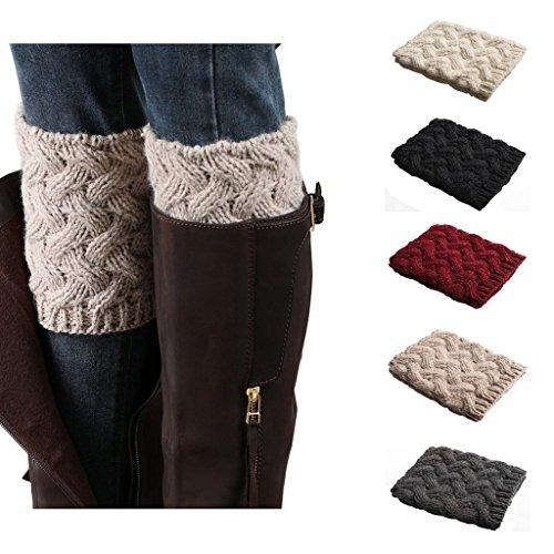 Crochet Boot (Bestjybt Womens Short Boots Socks Crochet Knitted Boot Cuffs Leg Warmers Socks, 5 Pairs, One Size, 5 Pairs)
