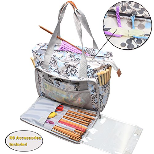 Bag Knitting Project Crochet (Teamoy Knitting Bag, Travel Yarn Storage Tote Organizer for Yarn, Unfinished Project, Crochet Hooks, Knitting Needles and Accessories, Lightweight, Water-resistant, Large Capacity, Dandelion)