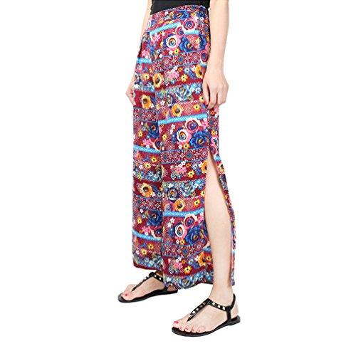 YuanDian Mujer Ocio Gasa Estampado Floral Palazzo Pantalon Talle Alto Ancho Grande Tamaño Fino Largo Pantalones 25Rojo Flor