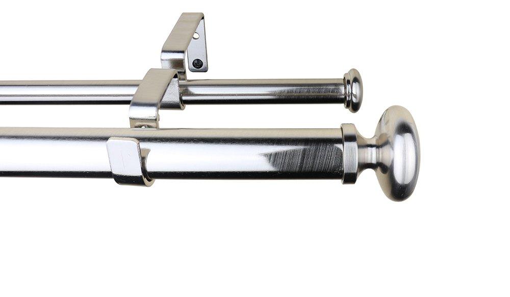 Meriville 1-Inch Diameter Prima Telescoping Double Window Treatment Curtain Rod Oil-Rubbed Bronze 28-Inch to 48-Inch