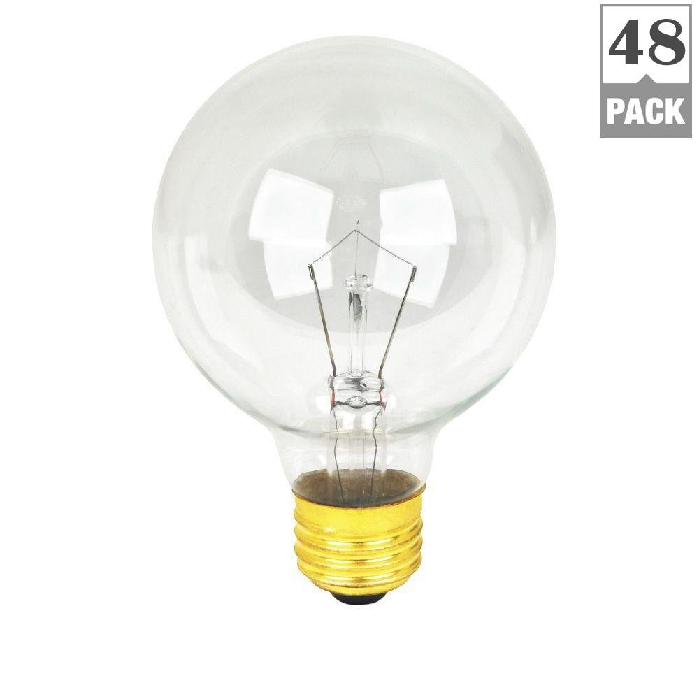 Feit Electric 40-Watt Soft White Dimmable Incandescent G25 Clear Light Bulb Maintenance Pack (48-Pack)