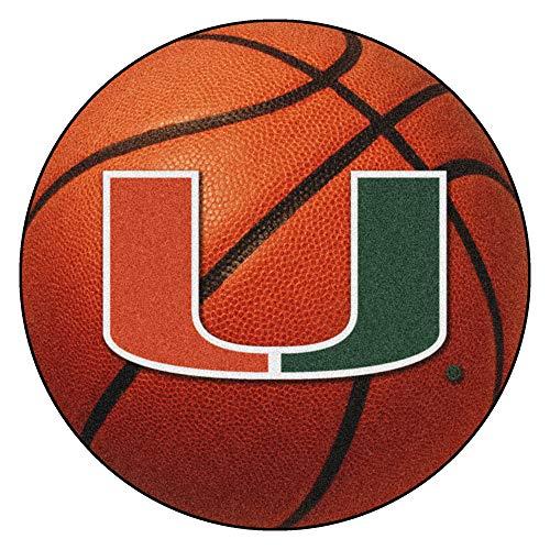 FANMATS NCAA University of Miami Hurricanes Nylon Face Basketball Rug