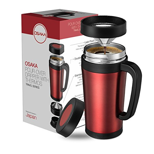 Osaka Coffee Pour-Over Dripper With Built-In Travel Thermos - Enjoy Freshly Brewed Coffee Wherever You Go