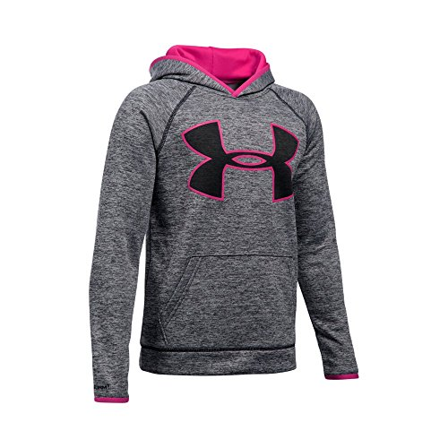 Under Armour Boys' Storm Armour Fleece Twist Highlight Hoodie, Black/Tropic Pink, Youth X-Small