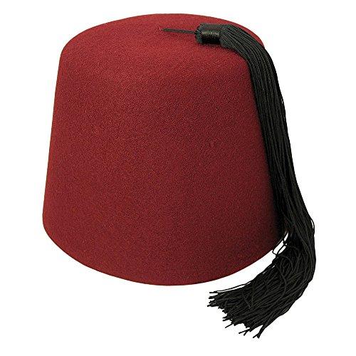 Village Hat Shop Maroon Fez with Black Tassel (Large, Maroon/Black)