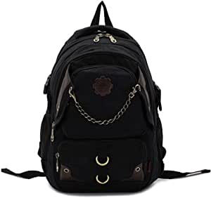 Unisex Casual Fashion Travelling Backpack Canvas Shoulders Bag Students Bagpack (Black)