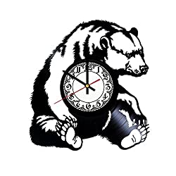 Grizzly Bear Handmade Vinyl Record Wall Clock - Get unique room wall decor - Gift ideas for his and her – Modern Unique Home Art Design