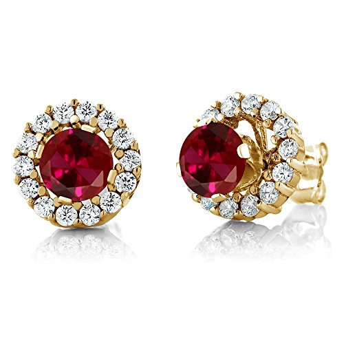 Gem Stone King 1.59 Ct Round Red Created Ruby Yellow Gold Plated Silver Earrings with Jackets