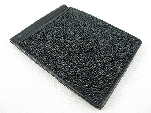 PELGIO Genuine Stingray Skin Money Clip Slim Fold Wallet (Solid Black)