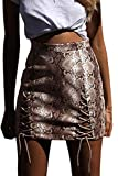 Meyeeka Women Solid Criss Cross PU Leather Hollow Out Stretch Mini Skirt Snakeskin M