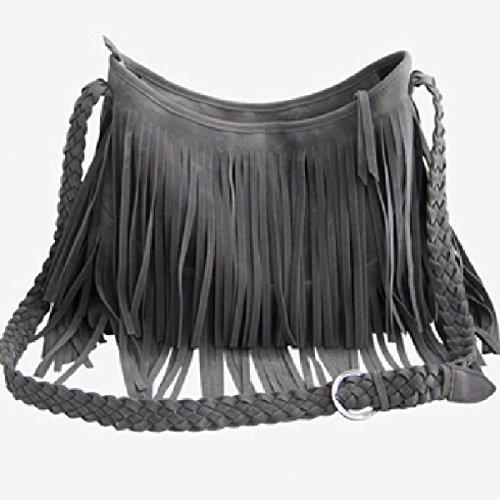 Frangé Sac Sac Gris de Classique Loisirs à Porté Epaule Mode Femme Nubuck Bandoulière OwqSYO