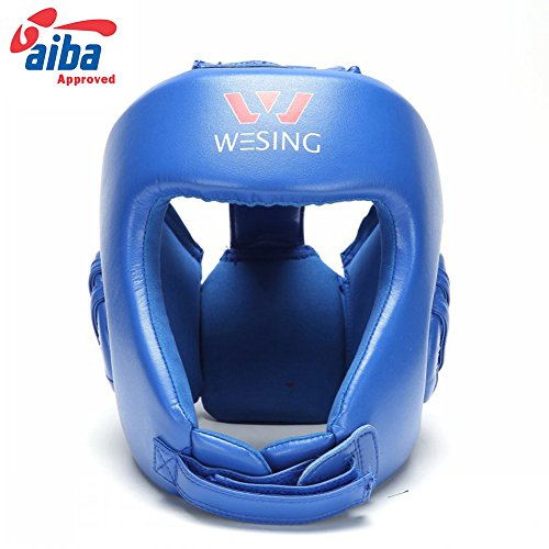 boxing headgear sanda head guard micro fiber boxing head protective (blue, M)