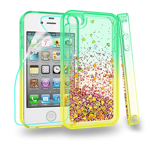 Zingcon Compatible for iPhone 4 Phone Case, iPhone 4S,4G Glitter Quicksand Case,with HD Screen Protector,Shockproof Hybrid Hard PC Soft TPU Bling Adorable Shine Protective Cover-Green/Orange (4s Iphone Cases Bling)