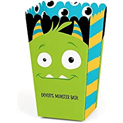Big Dot of Happiness Personalized Monster Bash - Custom Little Monster Birthday Party or Baby Shower Favor Popcorn Treat Boxes - Custom Text - Set of 12