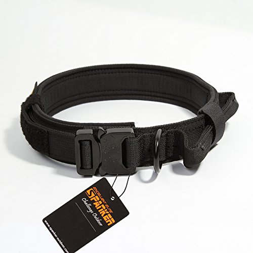 Excellent Elite Spanker Tactical Training Adjustable Dog Collar with Control Handle and Quick Release Metal Buckle(Black-L) (Control Tactical)
