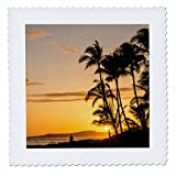 3dRose Danita Delimont - Sunsets - Sunset at Poipu beach, Kauai, Hawaii. - 22x22 inch quilt square (qs_259224_9)
