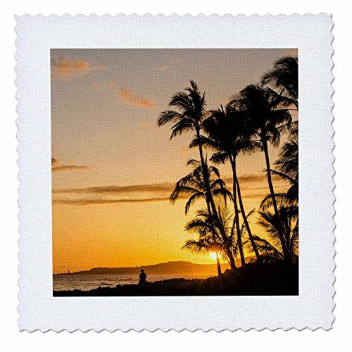 3dRose Danita Delimont - Sunsets - Sunset at Poipu beach, Kauai, Hawaii. - 22x22 inch quilt square (qs_259224_9) by 3dRose