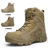 ENLEN&BENNA Men's Desert Boots Tactical Combat Boots Military Boots Tan Composite Toe Side Zipper Lightweight Brown