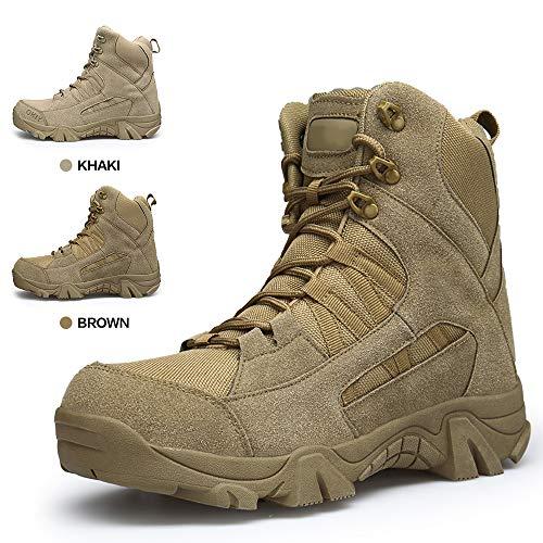 ENLEN&BENNA Men's Desert Boots Tactical Combat Boots Military Boots Tan Composite Toe Side Zipper Lightweight Brown by ENLEN&BENNA