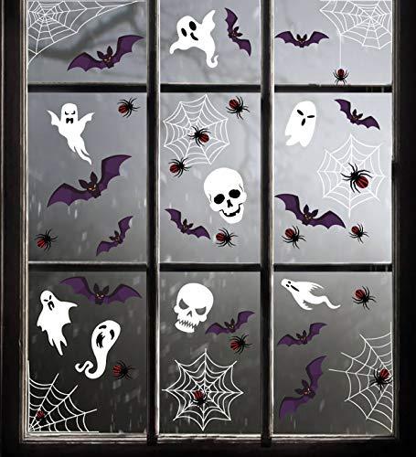jollylife 174PCS Halloween Spider Web Window Clings Decals